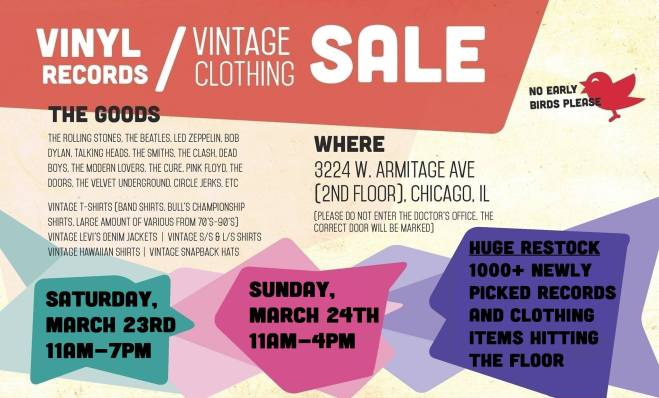 ad for the Logan Square Vintage Clothing and Vinyl Record Sale featured in The Haute Seeker March 21st - 24th Weekend Seekers Guide