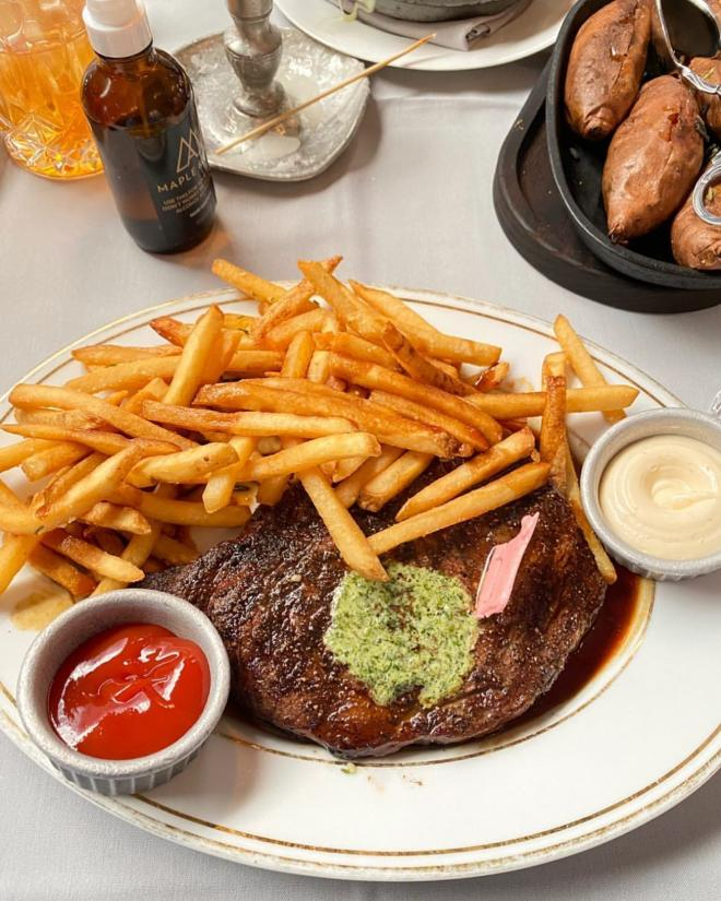 Steak Frites from Maple and Ash dining in Chicago with Michele Thompson for Seek Like a Local series with The Haute Seeker