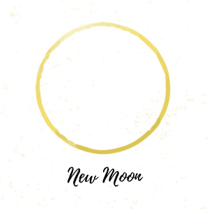 new moon phase in gold watercolor on white background