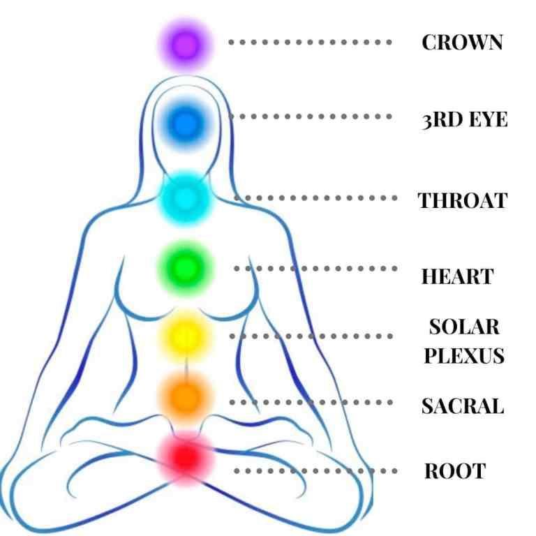 Labelled illustration of chakra system