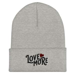 Love More cuffed beanie with black lettering