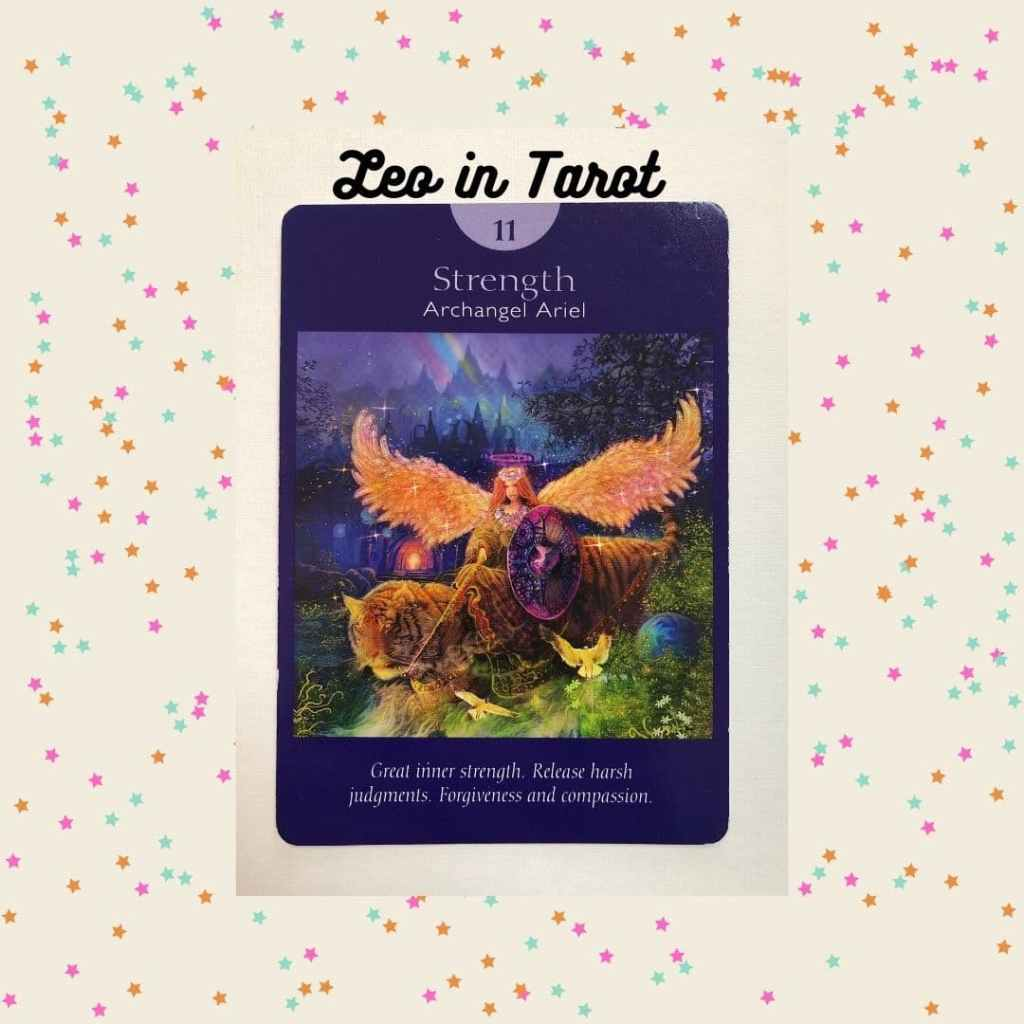 Strength tarot card, which represents the Leo zodiac sign