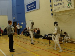 Fighting under the banner of Sports Scotland and winning his elimination bout.