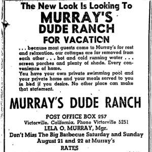 Murray's dude ranch newspaper clipping
