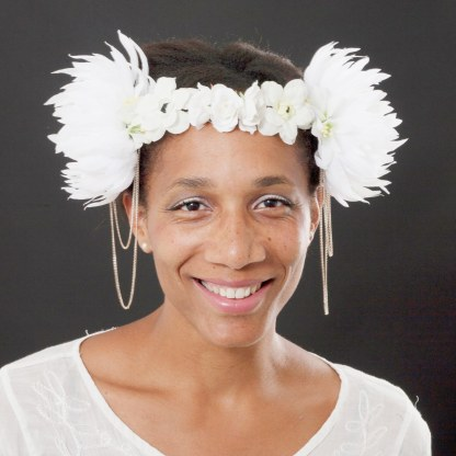 white flower crown with chain detail