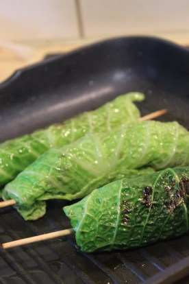 frying the cabbage roulades