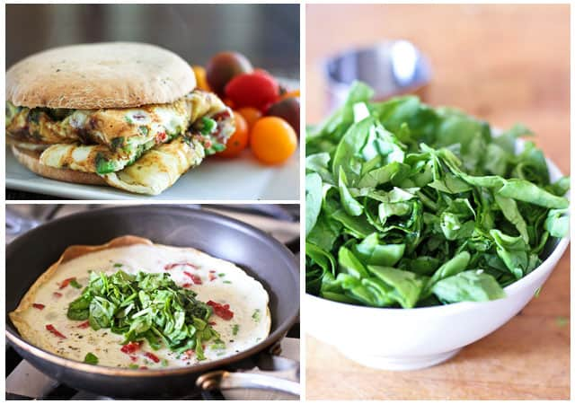Spinach and Sun Dried Tomatoes Omelet Sandwich   by Sonia! The Healthy Foodie