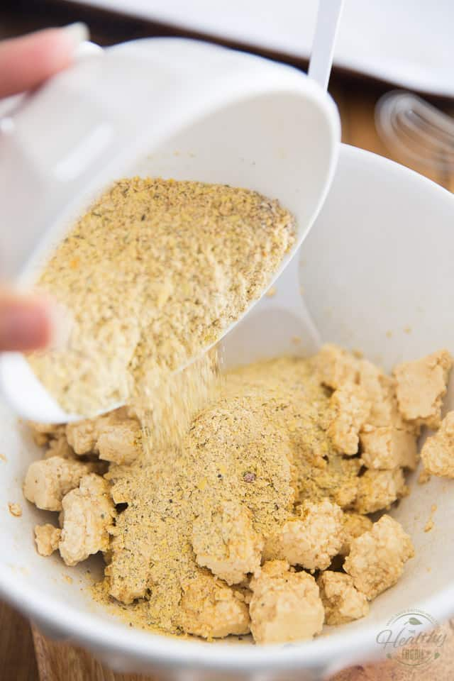 Add breading to the tofu pieces