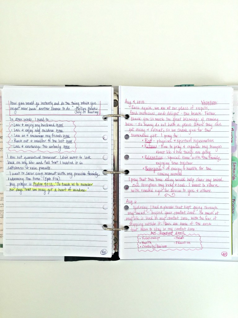 Sample Journal Pages.