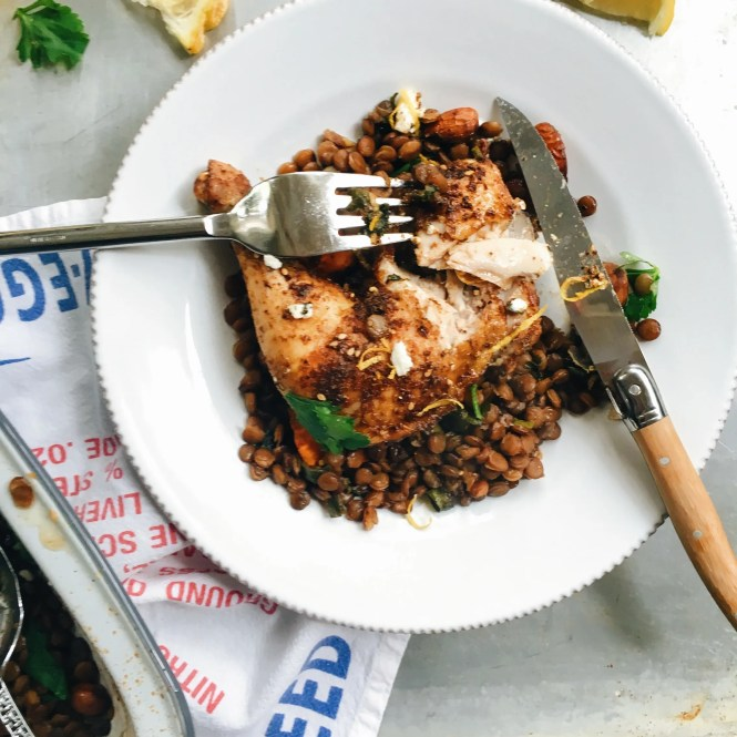 Baked Za'atar Spiced Chicken With Lentils