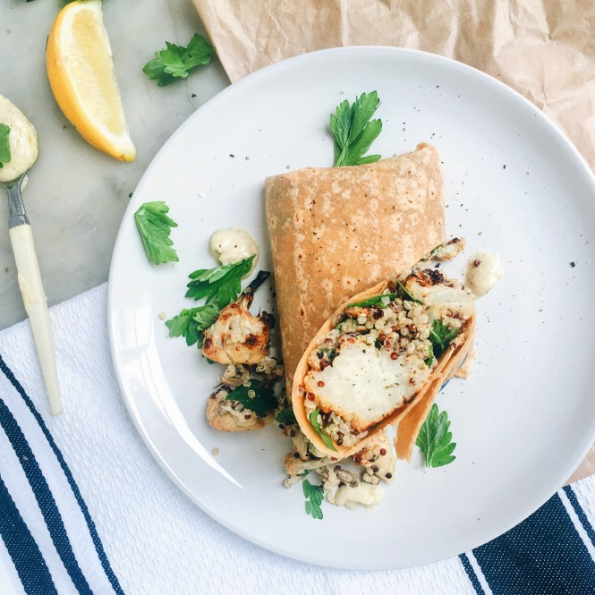 Roasted cauliflower and quinoa wrap