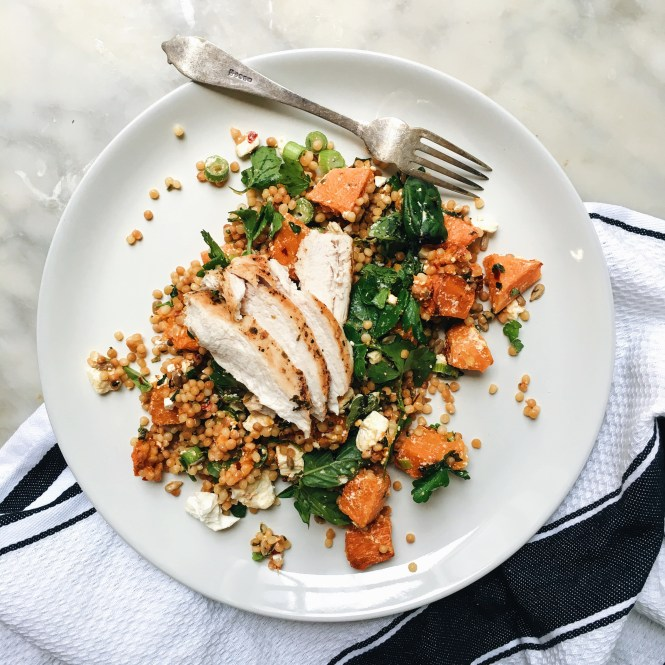 GRILLED CHICKEN BREAST WITH PEARL COUSCOUS, FETA AND CHILLI PUPMKIN SALAD