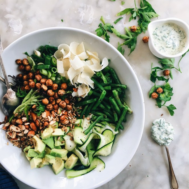 ZUCCHINI AND AVOCADO SALAD WITH HERBED 'MAYO' AND CHICKPEA CROUTONS 9