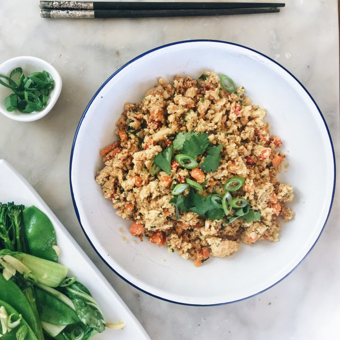 Cauliflower fried rice with garlicky greens 4