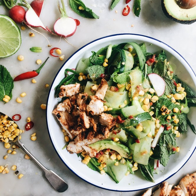 CUCUMBER, CORN AND AVOCADO SALAD WITH MISO MARINATED CHICKEN 6