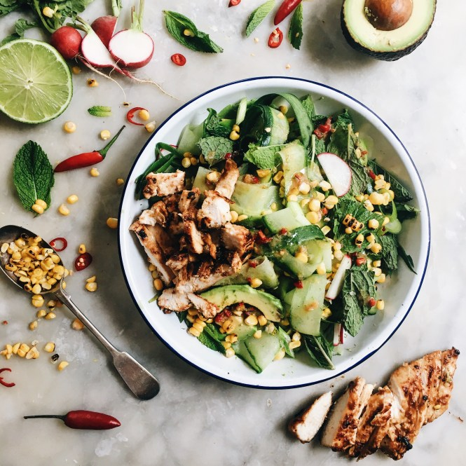 CUCUMBER, CORN AND AVOCADO SALAD WITH MISO MARINATED CHICKEN 7