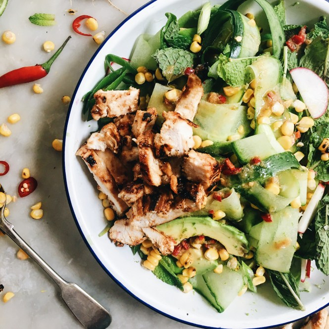 CUCUMBER, CORN AND AVOCADO SALAD WITH MISO MARINATED CHICKEN 2