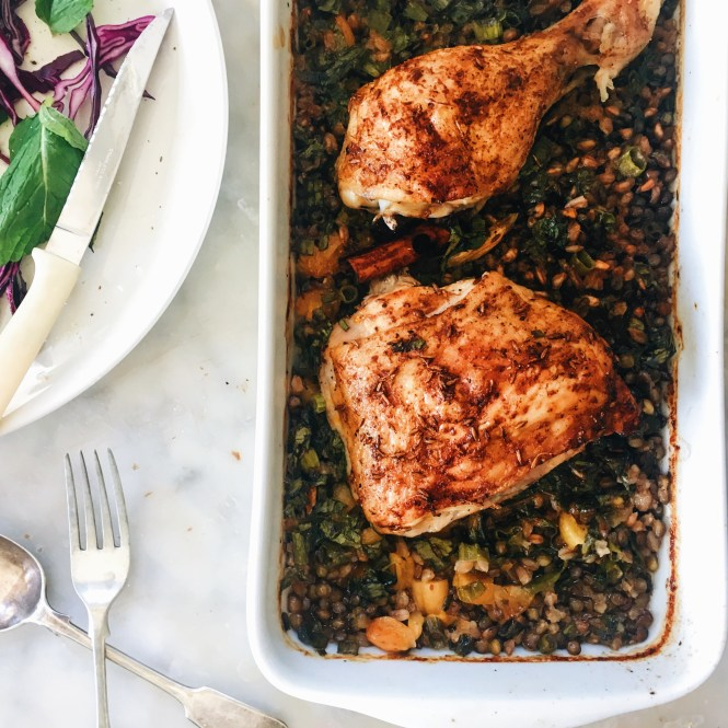 ONE PAN ROASTED CHICKEN WITH LENTILS AND FARRO