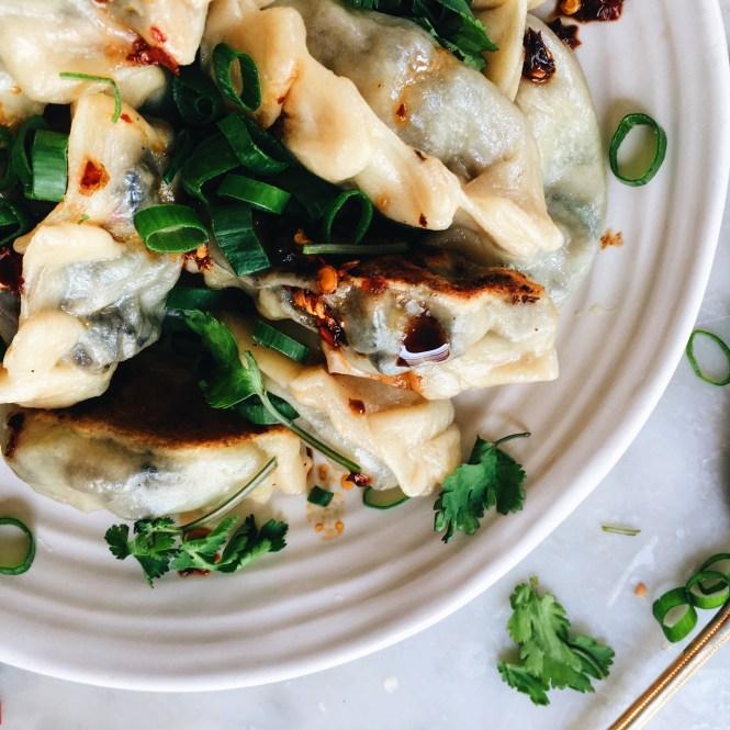 Mushroom and spring onion dumplings 4