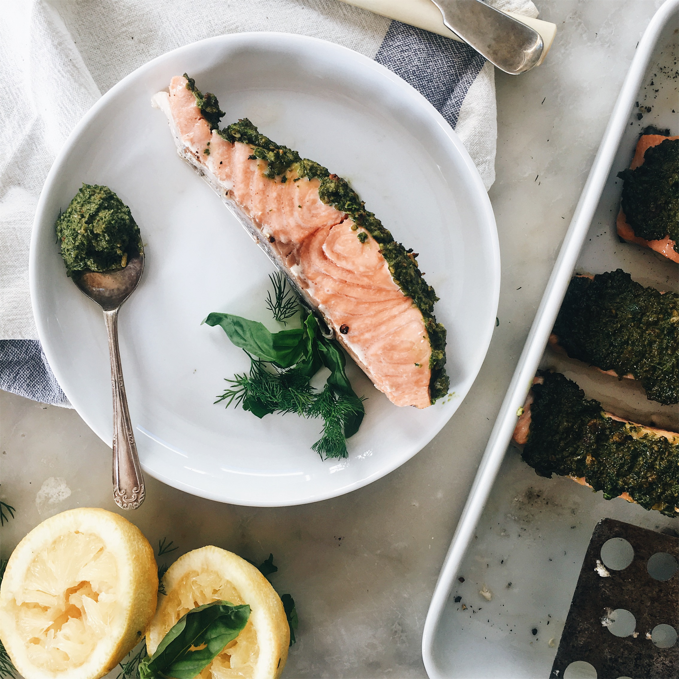 I've Also Had This Salmon Cold, I Had Leftovers Due To Testing The Recipe  Multiple Times O Flaked A Little Bit Into My Breakfast Salad Jar (pesto  Saut�ed