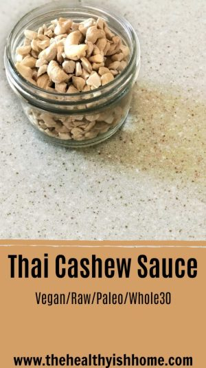 Participating in whole30 Thai food was completely out of the question but it was something that I really wanted to eat. This cashew sauce mimics Thai flavors without the soy, sugar, legume, and dairy that is normally in Thai food. #whole30 #pastasauce #dairyfree #glutenfree #saucerecipe