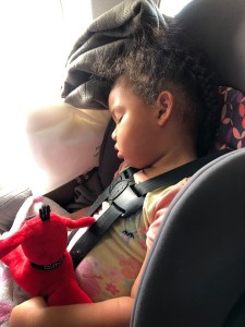 Baby T sleeping on the airplane in her car seat.