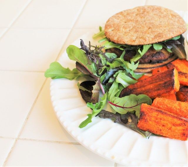 Veggie Burger and Carrot Fries