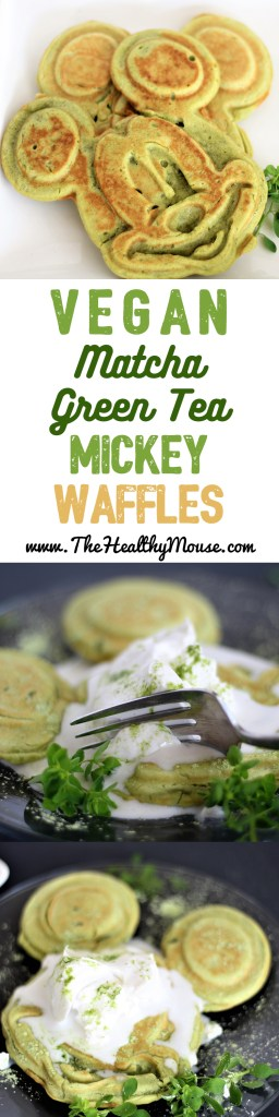 Matcha Green Tea Waffles - Mickey Mouse St. Patrick's Day Waffles - Naturally Green Waffles - St. Patrick's Day Breakfast - Vegan Waffles - Vegan St. Patricks Day