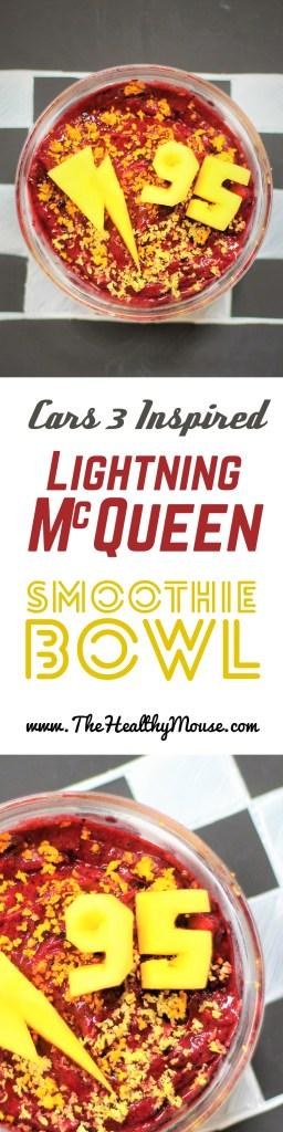 Pixar Cars 3 Inspired recipe - Lightning McQueen Smoothie Bowl