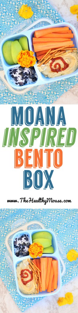Inspired by Moana Bento Box! A quick and easy way to add some Disney fun for back to school lunches! - Back to school bento box - easy bento box - healthy kid lunches - healthy Disney food