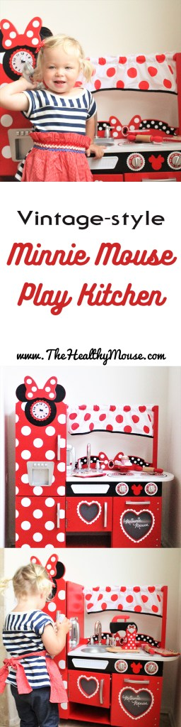 The play kitchen every Minnie Mouse fan needs! This vintage style Minnie Mouse wooden play kitchen is a Disney lover's dream come true!