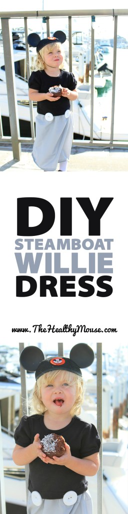 DIY Steamboat Willie dress - just need some grey fabric, buttons and a black shirt!
