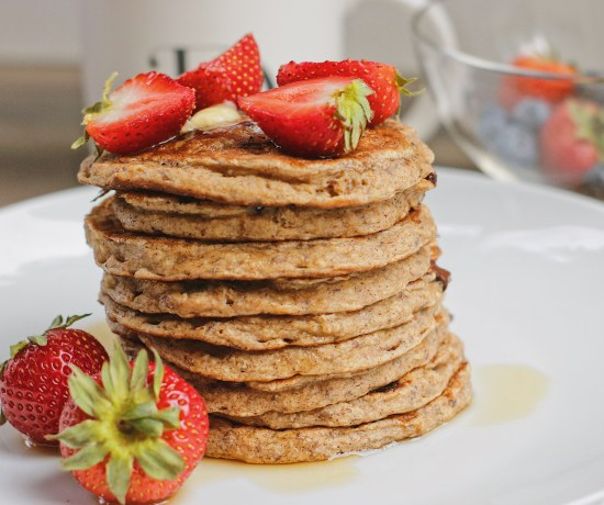 """(Vegan and GF) These Banana Oatmeal Chocolate Chip Pancakes are gluten-free and vegan! They are a """"healthier"""" version of your traditional stack as they pack more fibre!"""