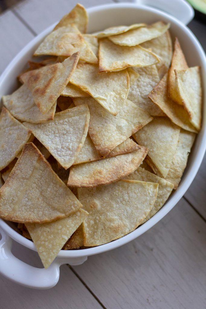 Bowl of baked tortilla chips