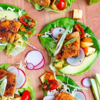 Teriyaki Salmon Lettuce Wraps with Pineapple Salsa
