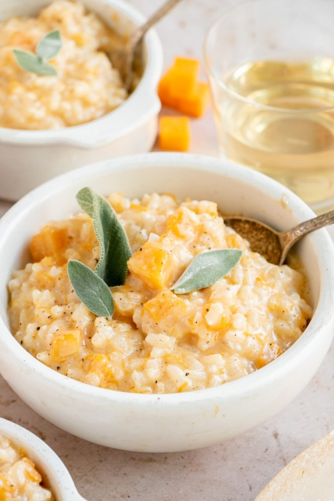 bowl of butternut squash risotto with sage