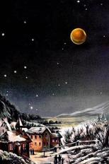 This is a drawing of a winter-time total lunar eclipse, first published in Bilder- (Picture Atlas of the Stemenwelt) in 1888