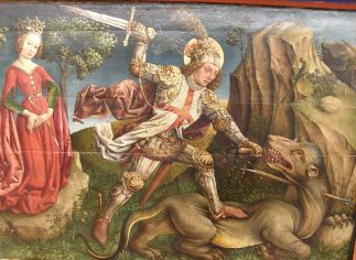 http://commons.wikimedia.org/wiki/File:Jost_Haller_-_Saint_George_slaying_the_dragon,_Unterlinden_Museum,_Colmar.jpg