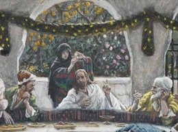 tissot the meal in the house of the pharisee alabaster- www.joyfulheart.com US public domain