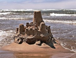 Sand castle, Cannon Beach by Curt Smith wikimedia share-alike license