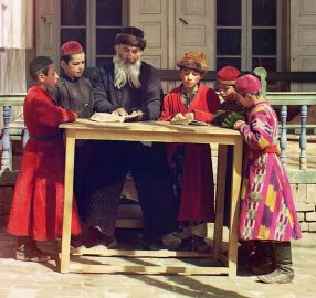 http://en.wikipedia.org/wiki/File:Jewish_Children_with_their_Teacher_in_Samarkand_cropped.jpg