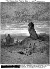 Dore_TheDisobedientProphetSlainByA_Lion www.creationism.org US public domain