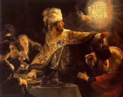 http://commons.wikimedia.org/wiki/File:Rembrandt_-_Belshazzar%27s_Feast_-_WGA19123.jpg