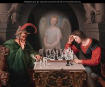 Chess-game - checkmate - by Friedriech Moritz August Retzsch - Wikigallery.org - Public domain