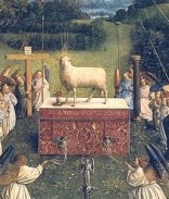 http://en.wikipedia.org/wiki/File:Ghent_Altarpiece_D_-_Adoration_of_the_Lamb_2.jpg