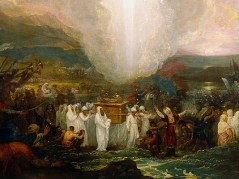 http://commons.wikimedia.org/wiki/File:Benjamin_West_-_Joshua_passing_the_River_Jordan_with_the_Ark_of_the_Covenant_-_Google_Art_Project.jpg