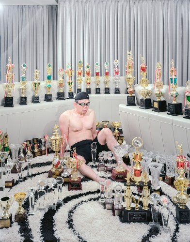 Dad and all of his trophies