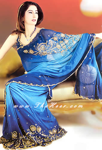 SR012 Blue Saree Sea Blue And Solid Royal Chiffon Saree From Pakistan Having Handmade Embroidery