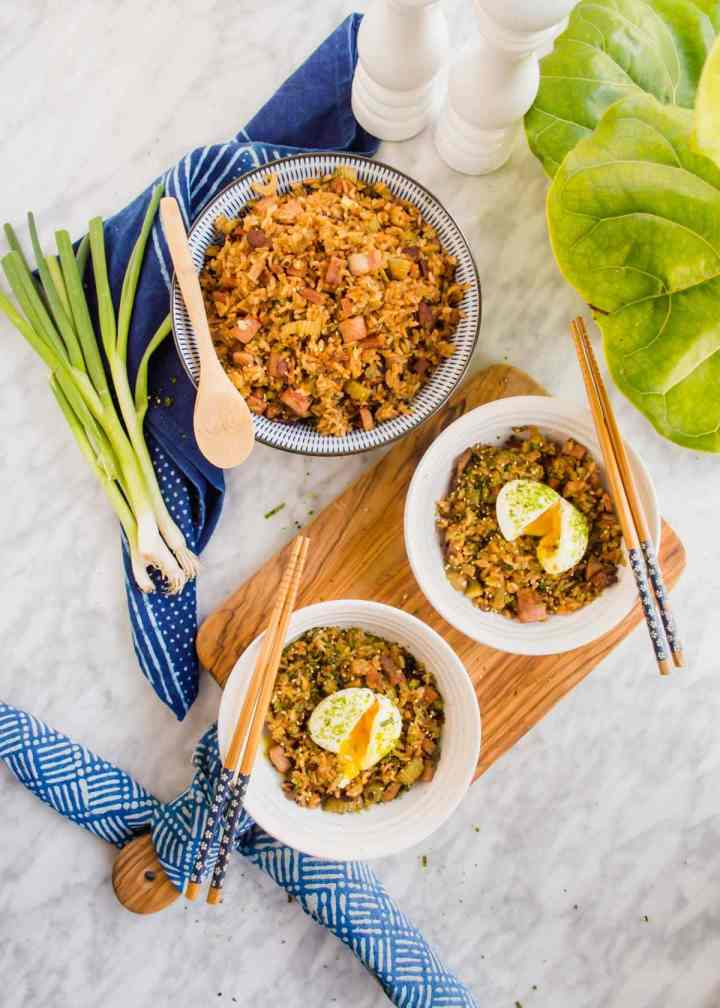 Shoyu Breakfast Fried Rice in bowls with soft boiled eggs..
