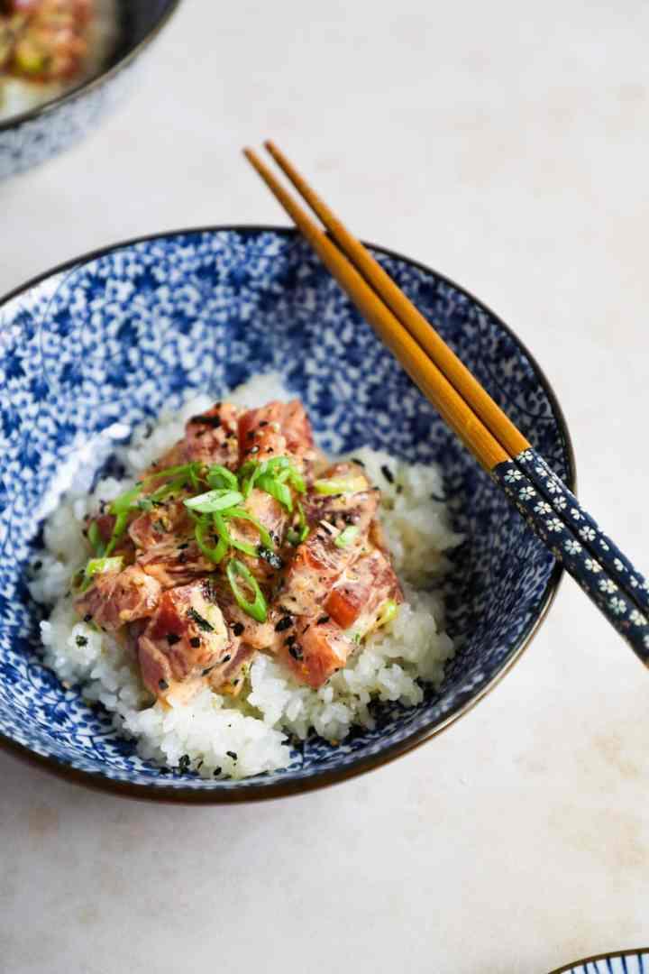 Upclose homemade spicy ahi tuna poke bowl.